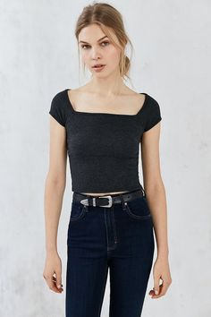 Truly Madly Deeply Lily Square-Neck Cropped Tee
