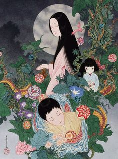 Yamamoto Takato 山本タカト Izumi Kyoka 泉鏡花 Illustration from Soumeikyuu 草迷宮 (Grass Labyrinth) - Exhibition poster Kanazawa museum - December 2014