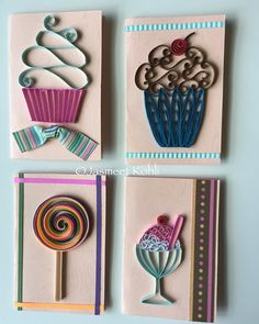 Sweet treats #yummy paper quilled gift tags JasmeetKohli.Etsy.com#paperquilling #quilling #etsy #imadethis