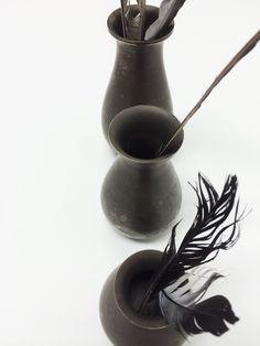 Antique solid pewter mini vases