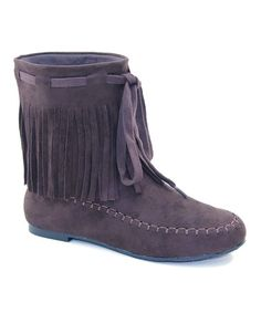 Another great find on #zulily! Coffee Fringe Ankle Boot #zulilyfinds