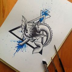 """#pokemonday #1 Cool Vaporeon art by @littlegeekyfanart #vaporeon #eeveelution #pokemon #videogameart #nintendo Great to see you back Lisa! """