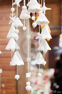 Ceramic chime-bells on the city fair during winter season
