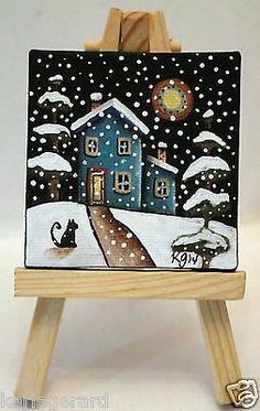 Snowy Night 2 1/2 x 2 1/2 inches ORIGINAL PAINTING & EASEL FOLK ART Karla G...Brand new mini painting with easel...now for sale..