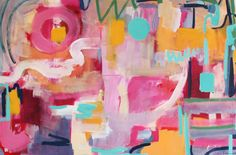 """Tennis Court"" 40x60"" mixed media abstract painting, Amira Rahim"