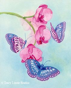 'Blue Butterflies' ………………………..... Original Watercolor By Tracy Lizotte ………………………………………………………...…… (Photo Courtesy of Etsy.com)