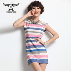 women's contrast-color slim fit sleeveless striped dresses(No.LY0306), $49 @ Blog — The Pocket Mall