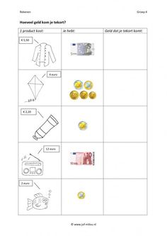 Dit werkblad en nog veel meer in de categorie geld kun je downloaden op de website van Juf Milou. Second Grade Math, Kids Education, Teaching Math, Euro, Worksheets, Budgeting, Homeschool, Classroom, Teacher