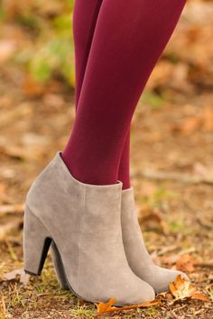 Gray, faux suede booties! Love! The perfect pair of shoes! You can wear these with all of your winter outfits!
