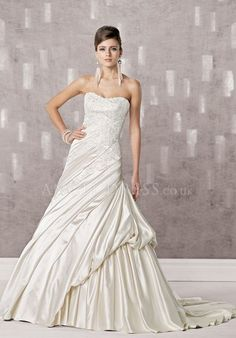Strapless Satin A line Sleeveless Floor Length Dropped Wedding Dress With Draping
