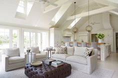 Vaulted ceilings let light into the kitchen/family room.