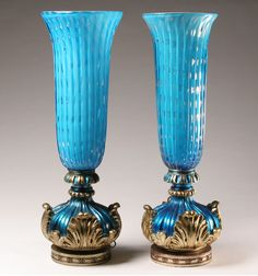 Pair Barovier Italian Glass Lamps Blue Hollywood