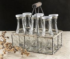 possible syrup containers for coffee station. Milk Bottles in Crate | Set of 6