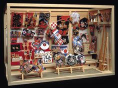 Miniature Japanese kite shop made from kit.  Finished dimensions: width: 324 mm x 216 mm (height) x 166 mm
