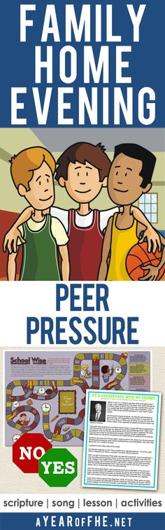 A Year of FHE // A Family Home Evening lesson all about Peer Pressure. WEhat is it, how to stand up to it, and the blessings that follow making good decisions. Includes scripture heroes who stood up to peer pressure. There are activites, a board game, and a LDS talk for older kids and teens! #lds #peerpressure #ctr