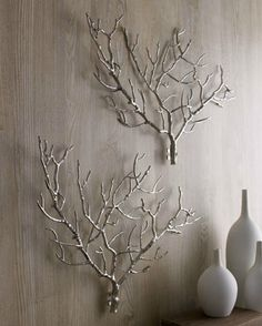 •❈• Wall Decor  No link, just a picture is enough to inspire you.  Find some great looking branches, spray paint, then attach them to the wall using small brad nails.