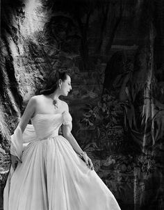 1948 by Cecil Beaton    Mrs. Byron Foy wearing chiffon evening gown by Castillo.