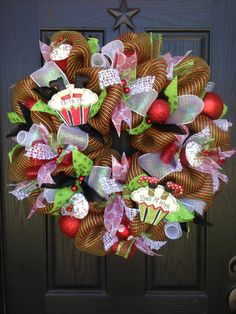 CUPCAKE CHRISTMAS Mesh Wreath by GlitzyWreaths on Etsy, $90.00