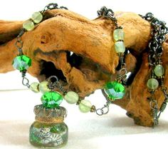 """Two kitties in a Glass Vial Bottle, Ornate Prehnite Chain Necklace 19"""""""