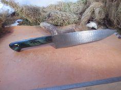 Custom Damascus Chef Knife With Blue Stabilized Buckeye Burl Handles by EricsCustomKnives on Etsy