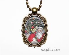 Santa Claus Necklace, Christmas Jewelry, Bronze Pendant, Stocking Stuffer Gift Christmas Necklace, Christmas Jewelry, Princess Jewelry, Bronze Pendant, Organza Bags, Ball Chain, Gift, Handmade Items, Shops