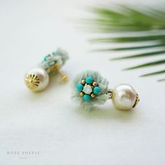 Rose Soleil Jewelry Tropical Sky Collection   ローズソレイユジュエリー ✧  コットンシルクピアス ✧ トロピカルスカイコレクション Minne, Summer Collection, Tropical, Stud Earrings, Rose, Jewelry, Accessories, Pink, Jewlery