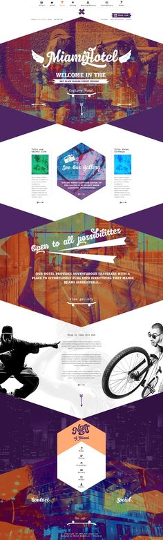 Unique Web Design, Miami Hotel By Michal Wierzbicki Lublin, Poland Website Layout, Web Layout, Layout Design, Page Design, Ui Design, Design Hotel, Blog Design, Graphic Design, Website Design Inspiration