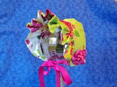Baby Bonnet Lime Green and Hot Pink Reversible by AdorableandCute, $26.00