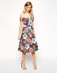 Pin for Later: 50 Reasons to Embrace Spring's Off-the-Shoulder Trend ASOS Midi Prom Dress In Floral Bloom Print ASOS Midi Prom Dress In Floral Bloom Print (£45)