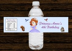 Custom Sofia the First Birthday Party Water Bottle Labels Wraps - Water Resistant (15pcs). $11.25, via Etsy.