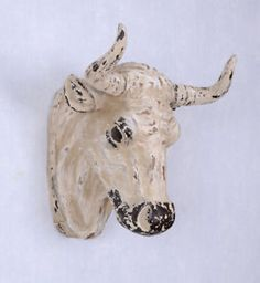 Bull's Head Wall Sculpture Ox Wall Decoration Shabby Chic Figure for sale Wall Sculptures, Moose Art, Shabby Chic, Wall Decor, Hunting, Animals, Home Decor, Ideas, Wall Hanging Decor