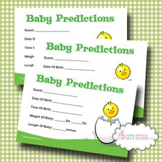 Printable Baby Shower Prediction Game, Baby Shower Predictions Card Games, by The Party Stork. $5.99, via Etsy.