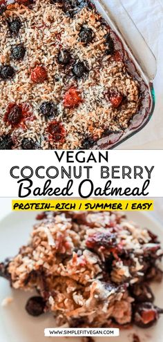 Healthy Coconut Berry Baked Oatmeal is the perfect make-ahead morning breakfast recipe! It's easy to make and will guarantee you never go hungry. #bakedoatmeal #oats Low Carb Vegan Breakfast, Healthy Breakfast Snacks, Healthy Banana Muffins, Healthy Breakfast Recipes, Healthy Food, Vegan Recipes Plant Based, Raw Food Recipes, Vegetarian Recipes, Freezer Recipes