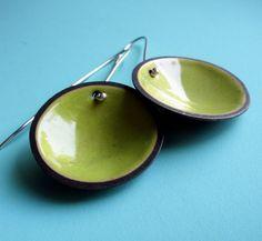 Acid Green Enameled Disc Earrings by ashleyjewelry on Etsy, $60.00