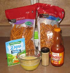 : Buffalo Pretzels! The blogger does reccomend using a lil less ranch mix and more buffalo sauce