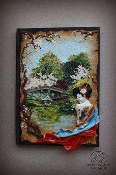 Japanise garden and Geisha polymer clay door ArtisticVariations84