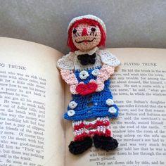 raggedy andy crochet bookmark
