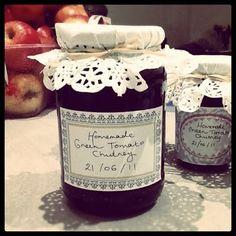 Yummy Homemade chutney, with doilies as jar covers.