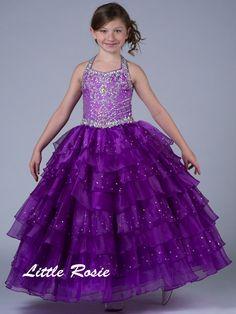 Halter Beaded Floor Length Organza Pageant Dress Little Rosie LR2034