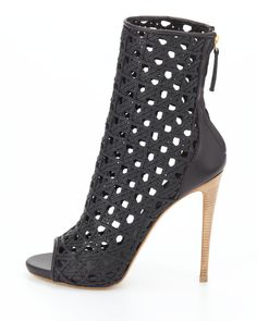Giuseppe Zanotti Open-Toe Woven Leather Ankle Boot, Black - Neiman Marcus
