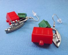 upcycle board games | Earrings Monopoly Board Game pieces hypoallergenic Upcycled Found ...