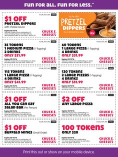 Pinned January 27th: 100 tokens for $20 & more at Chuck #E. Cheese #coupon via The #Coupons App