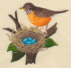 Robin and Nest, embroidered dish towel, hand towel, flour sack towel by embroiderybybeverly on Etsy