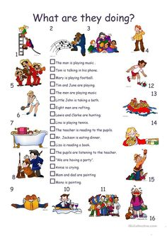What are they doing? - English ESL Worksheets for distance learning and physical classrooms Learning English For Kids, Teaching English Grammar, English Lessons For Kids, English Worksheets For Kids, English Games, Kids English, Grammar Lessons, English Vocabulary, Grammar Rules
