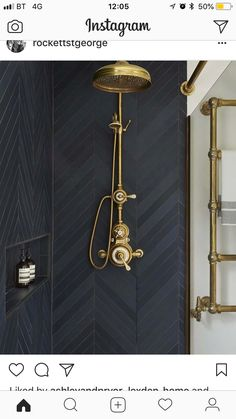 Lieblich Moody Shower With Black Tile And Brass Plumbing Fixtures Salle De Bain Noir  Et Or Chevron WOW