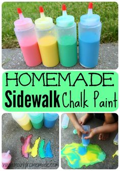 Easy Fizzy Homemade Sidewalk Chalk Paint. Have a blast making sidewalk chalk paint. Easy diy idea for kids. Kids crafts recipe. Kids activity they will love.