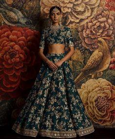 #sabyasachi fame dark rama green bridal lehenga choli Get this #designer look for only 3400 INR To buy WhatsApp : +91 9054562754