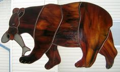 bear stained glass patterns | Bears are nearly 12 inches wide, we used beautiful Bullseye Art Glass ...