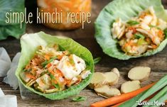 A simple kimchi recipe made with cabbage, daikon, garlic, ginger and carrot. Loaded with iconic kimchi flavor and powerful probiotics. Different Vegetables, Fresh Vegetables, Veggies, Korean Food Kimchi, Kimchi Recipe, Fermentation Recipes, Fermented Foods, Probiotic Foods, Healthy Side Dishes