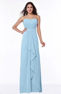 Ice Blue Cute A-line Sleeveless Zip up Chiffon Sash Plus Size Bridesmaid Dresses